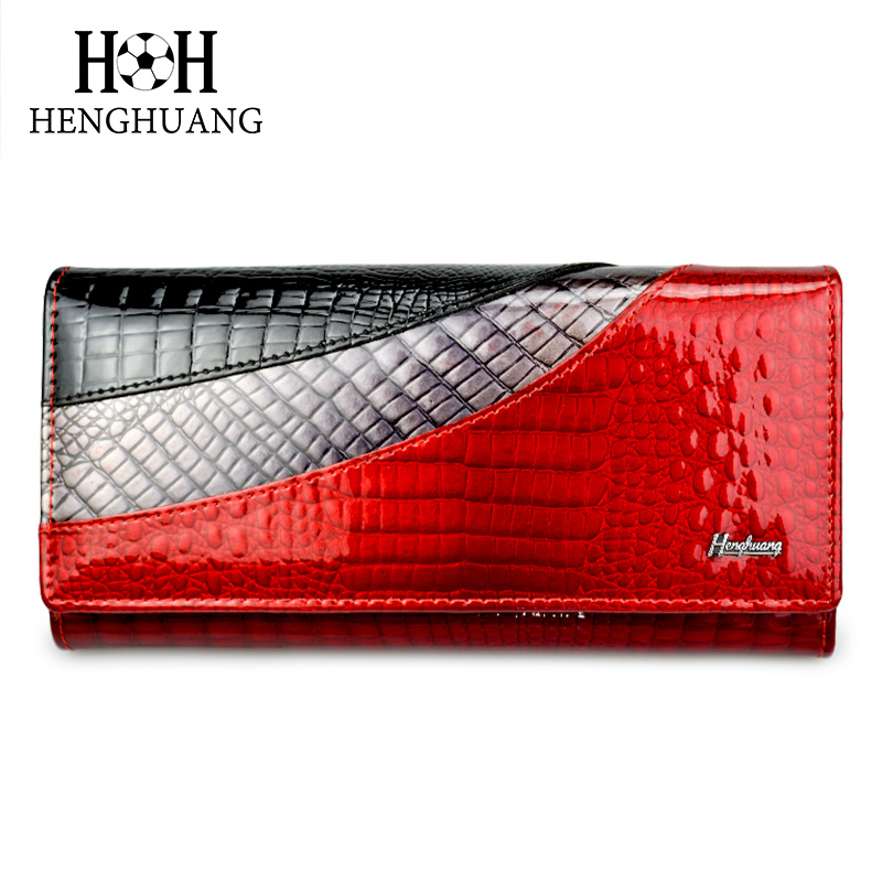 HH Fashion Alligator Long Women Wallets Soft Patent Shiny Calf Leather Multi-Colors Wallet Gift Luxury Red Croco Female Purse