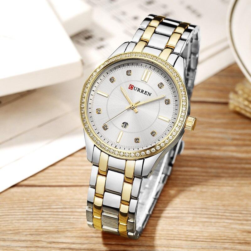 2018 Fashion Women's Wrist Watches with Diamond Golden Watchband Top Luxury Brand Ladies Jewelry Bracelet Clock Female Gift 2017