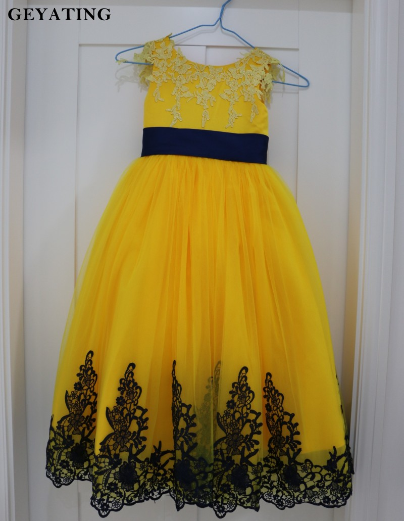Saudi Arabic Yellow Lace Ball Gown Pageant Dresses for Little Girls ...