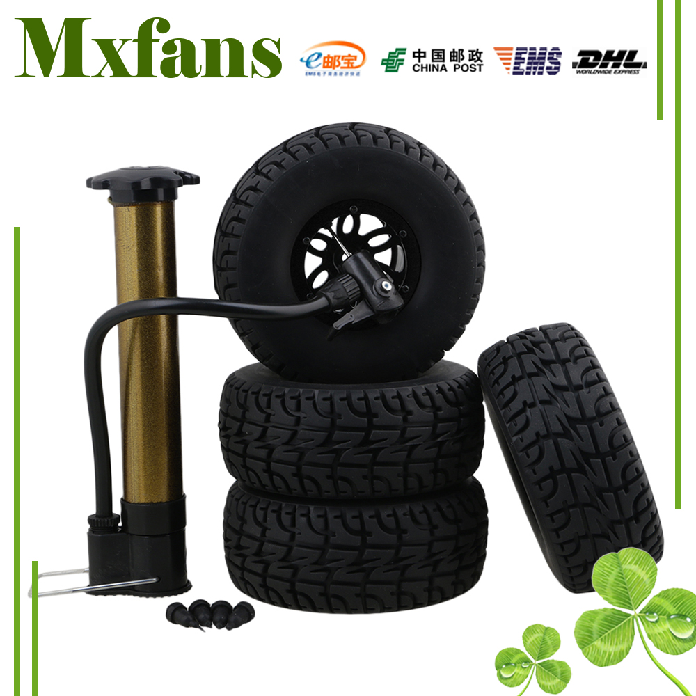 Mxfans RC 1:10 2.2 Crawler Car Inflatable Tires Black Alloy Beadlock Pack of 4 4pcs rc crawler truck 1 9 inch rubber tires
