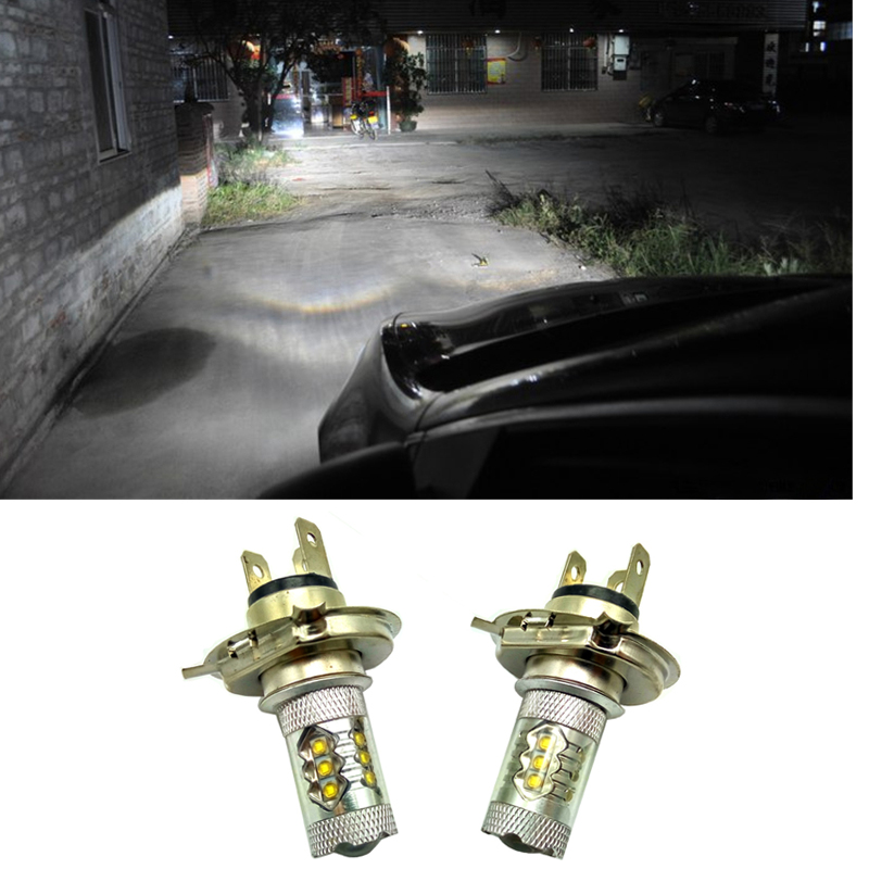 2PCS Xenon White Car Fog Lamp h4 80w headlight Bulb Auto lights car Xenon bulbs Car Light Source parking 12V 6000K 2 pcs h7 6000k xenon halogen headlight head light lamp bulbs 55w x2 car lights xenon h7 bulb 100w for audi for bmw for toyota