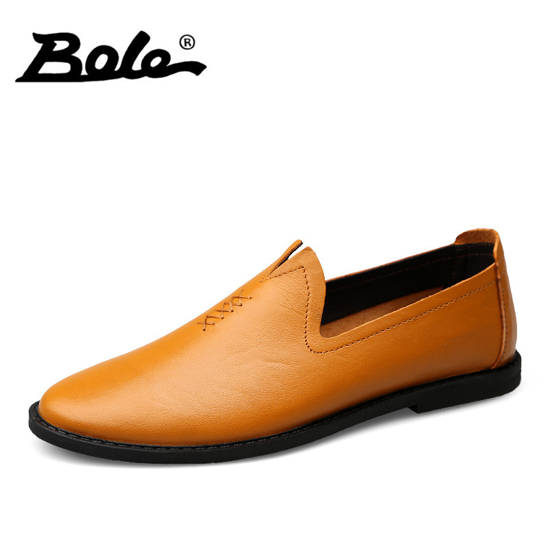 BOLE New Design Slip on Men Causal Shoes Fashion Driving Shoes for Men Fashion Designer Flats Loafers Leather Shoes Men Footwear bole new handmade genuine leather men shoes designer slip on fashion men driving loafers men flats casual shoes large size 37 47