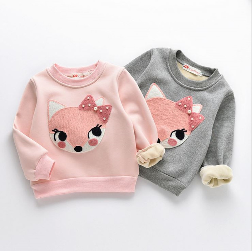 2017 Autumn Winter Children Sweaters Baby Boy Girls Thick Warm Sweaters Kids Casual Velvet Sweatshirts Kids Girls Sweaters