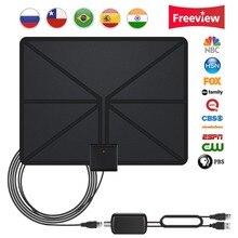 Обновлен 2018 версия Телевизионные антенны, крытый цифровой HD Телевизионные антенны усиленный 80 Миля Диапазон 4 К HD, Freeview для жизни местных Каналы