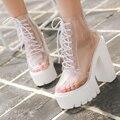 Plataforma tacones gruesos mujeres botas otoño tobillo transparente mujeres atan para arriba botas de plataforma botas de tacones altos zapatos de las mujeres