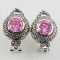 Новый Розовый Имитация Сапфир Женщины Стерлингового Серебра 925 Серьги Кристалл TE509