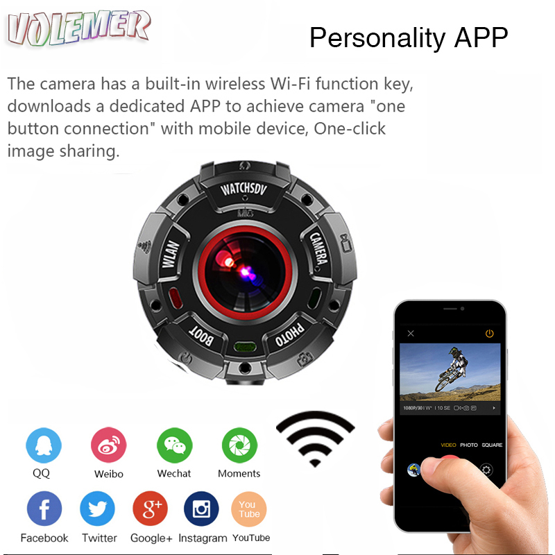 Volemer Action Camera 30 M Waterproof Swim Diving Sports DV Watch Band HD 1080P 8MP Sports Video Cam with wifi DV DVR Recorder цена