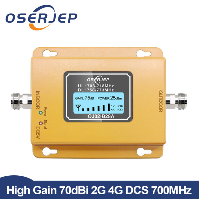 70dB LCD LTE 700MHz B28A 4G Signal Booster Mobile Phone Repeater for Brazil