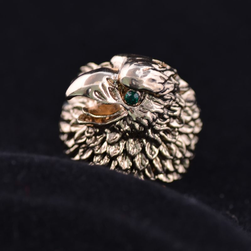 Retro Fashion Vintage Antique Gold Color Eagle Ring With Green Crystals Men Ring Jewelry J00436