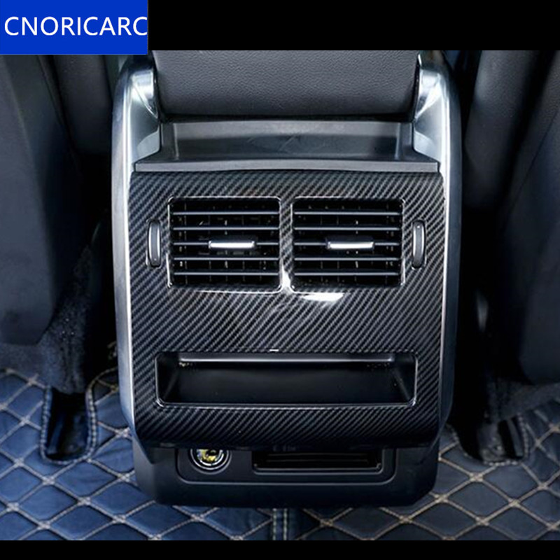 CNORICARC ABS Rear Air Conditioning Outlet Panel Trim Decals for Land Rover Range Rover Sport 2014 17 Carbon fiber color