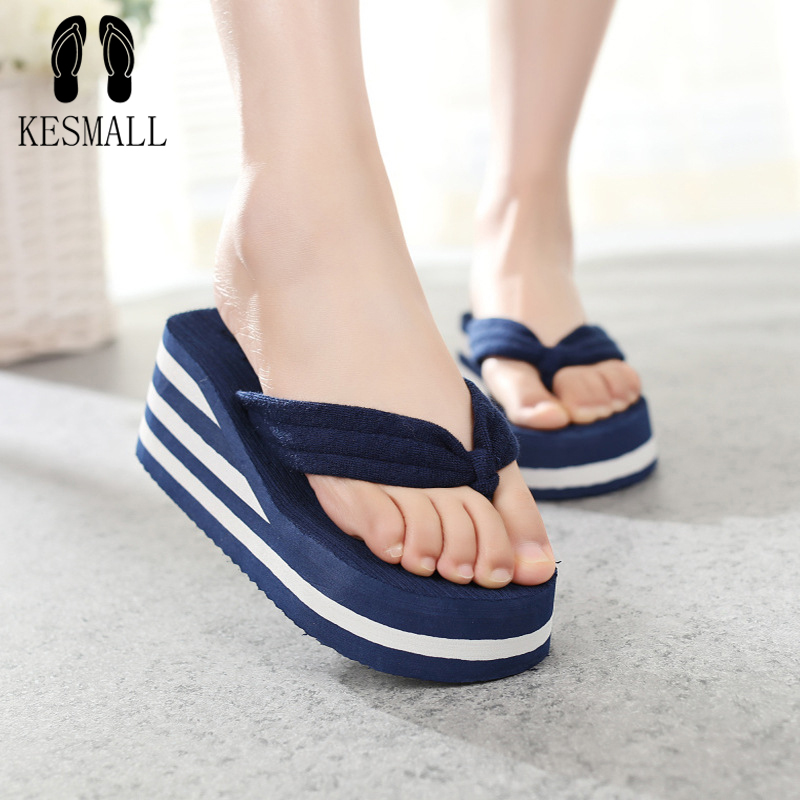 KESMALL Plus Size Hot 2017 High Heels Women Flip Flops Summer Sandals Platform Wedges Slippers Girl's Fashion Beach Shoes  WS85