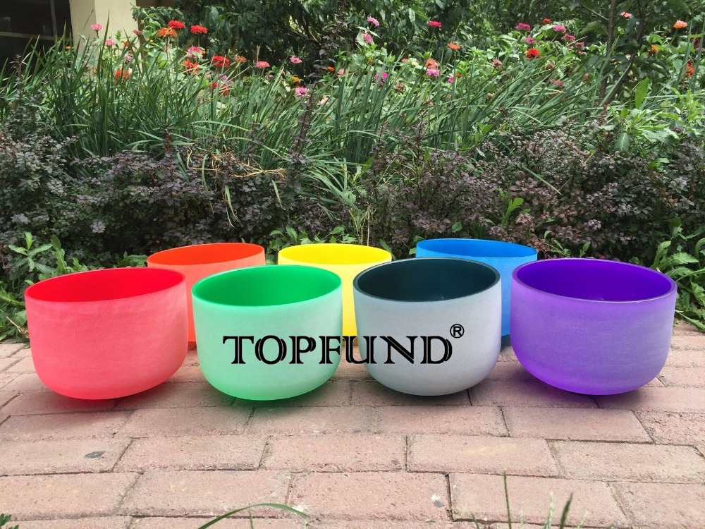 TOPFUND Perfect Pitch Chakra Tuned Set 7 Colored Frosted Crystal Singing Bowls 8''-12'' ( 8A B .10 D E F G and 12 C) topfund red color perfect pitch c adrenals chakra frosted quartz crystal singing bowl 10 with free mallet and o ring