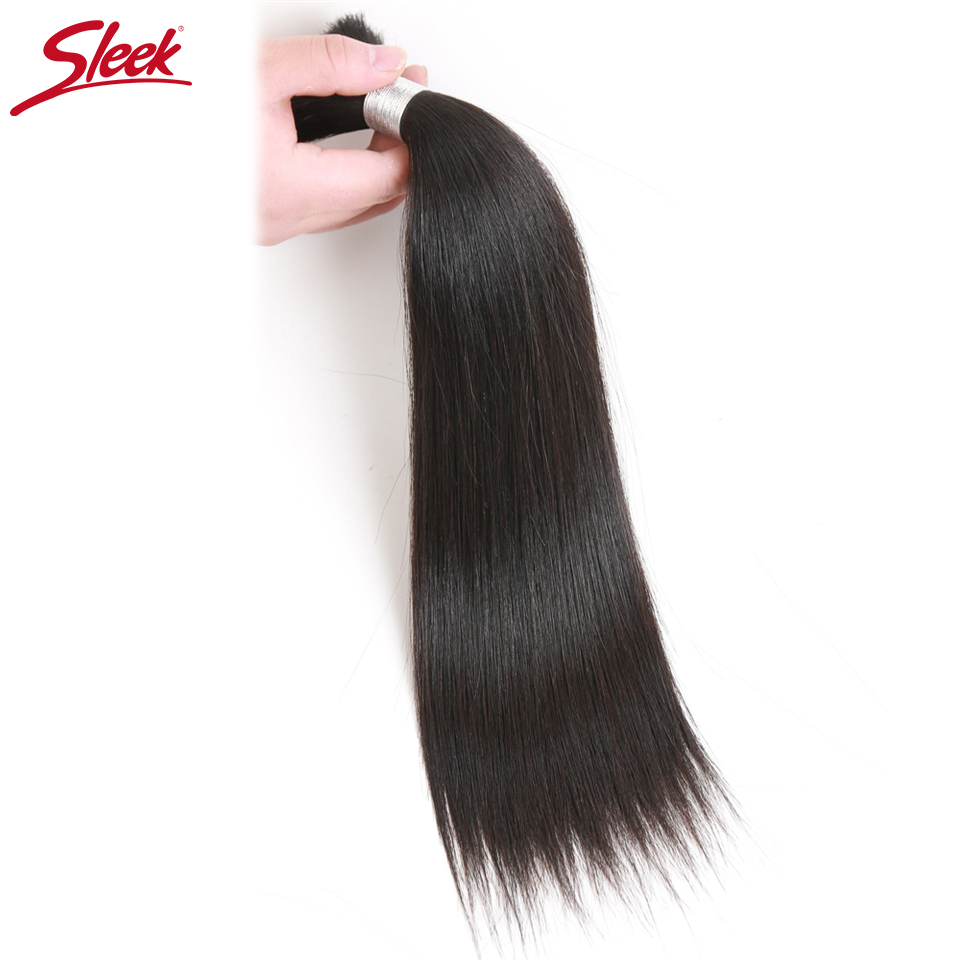 Sleek Remy Human Hair Malaysian Straight Bulk Hair For Braiding In Natural Color 8 To 30 Inches Crochet Braids No Weft Hair Bulk(China)