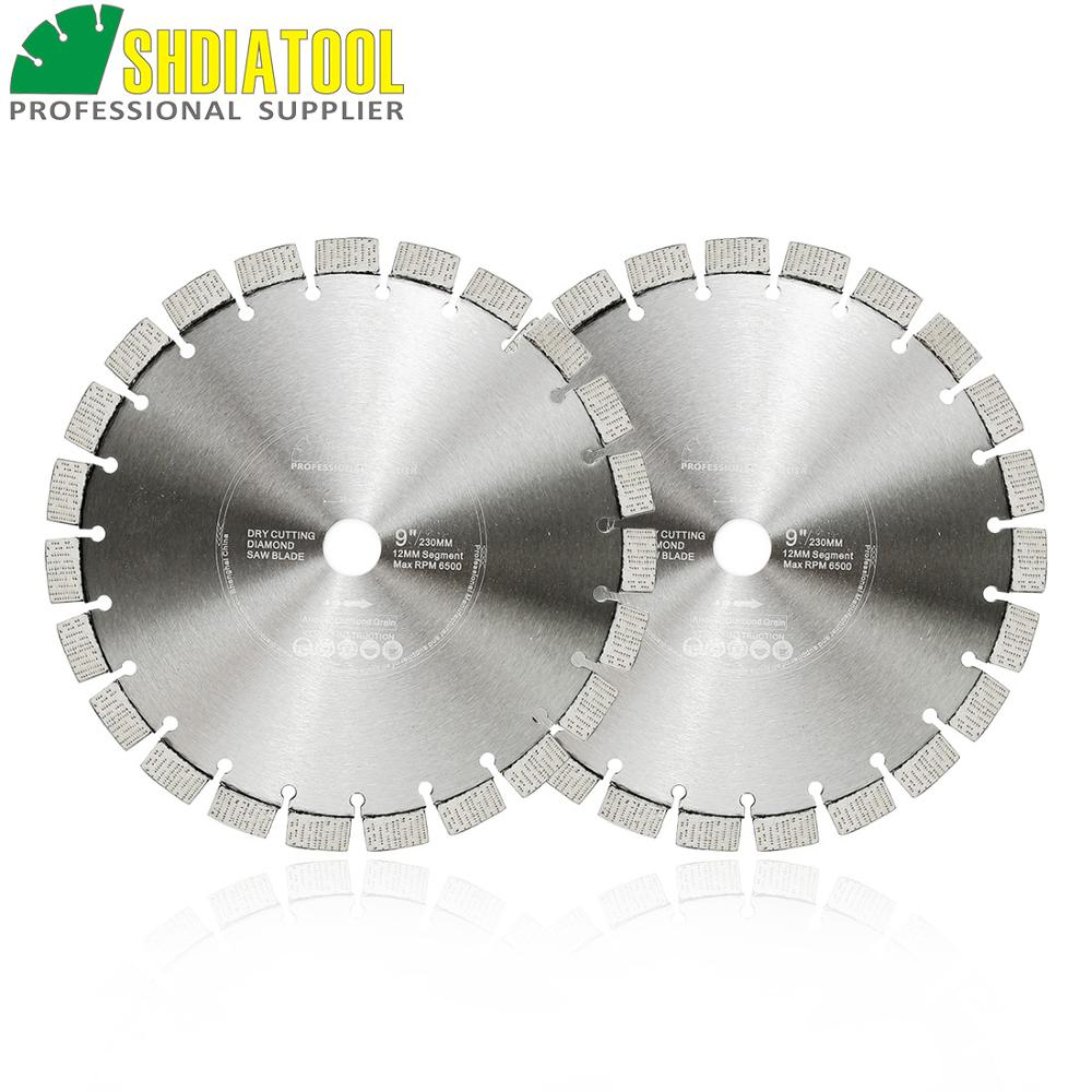 SHDIATOOL 2pcs Dia 9inch/230mm Laser Welded Arrayed Diamond Blades Cutting Discs Saw Blades Reinforced Concrete Diamond Wheel