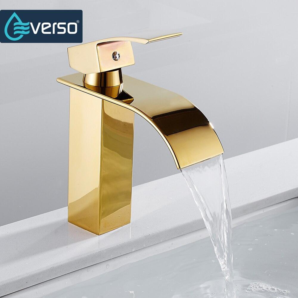 Cascade bassin évier robinet or mitigeur salle de bain vanité navire Chrome pont Mount chaud et froid unique poignée trou cuisine
