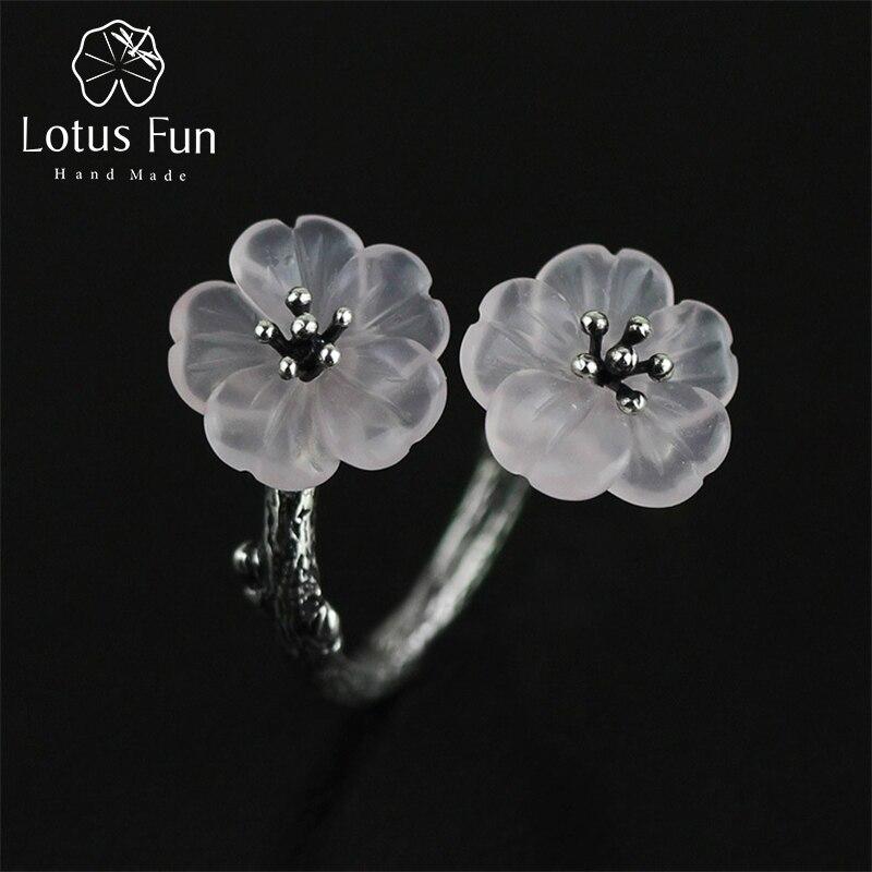 Lotus Fun Real 925 Sterling Silver Rings Přírodní křišťál Ručně vyráběné kreativní designéry Jemné šperky Flower v dešti ženské prsten