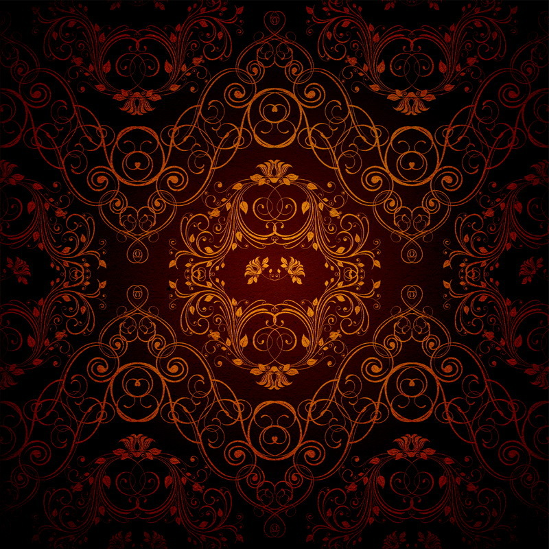 8x8FT Indoor Dark Brown Damask Wall Vintage Pattern Custom