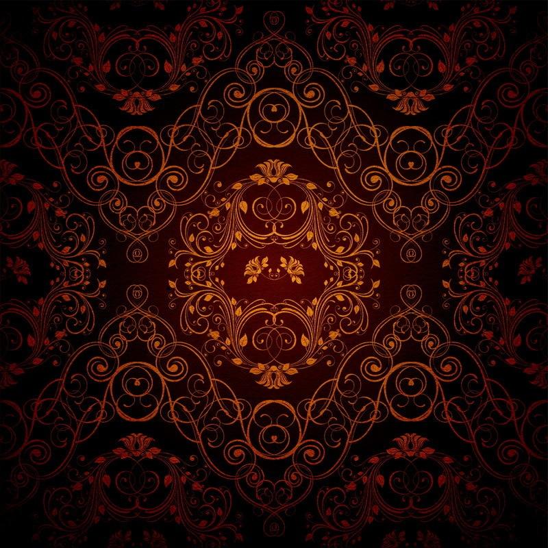8x8ft Indoor Dark Brown Damask Wall Vintage Pattern Custom