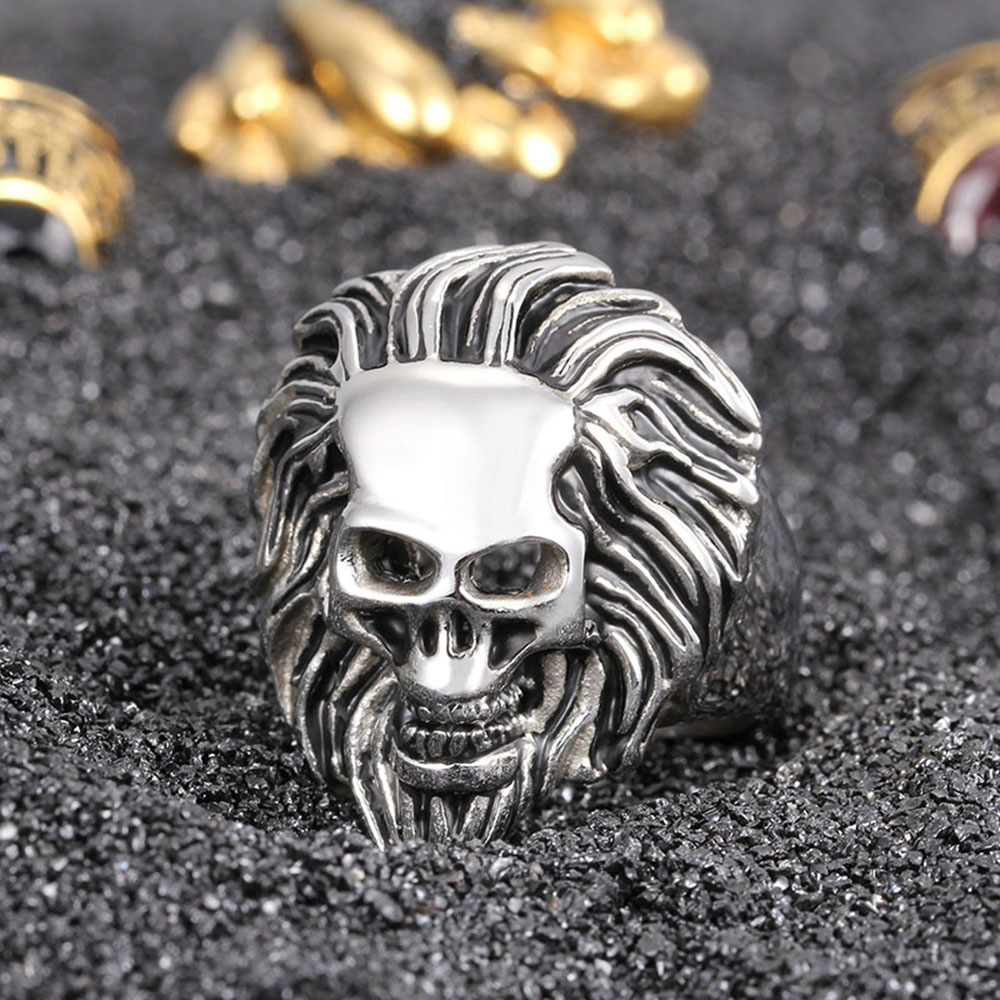 Vintage Biker Lion Skull Rings Mens 316L Stainless Steel Black Silver Ring Men Fashion Jewelry New Arrival