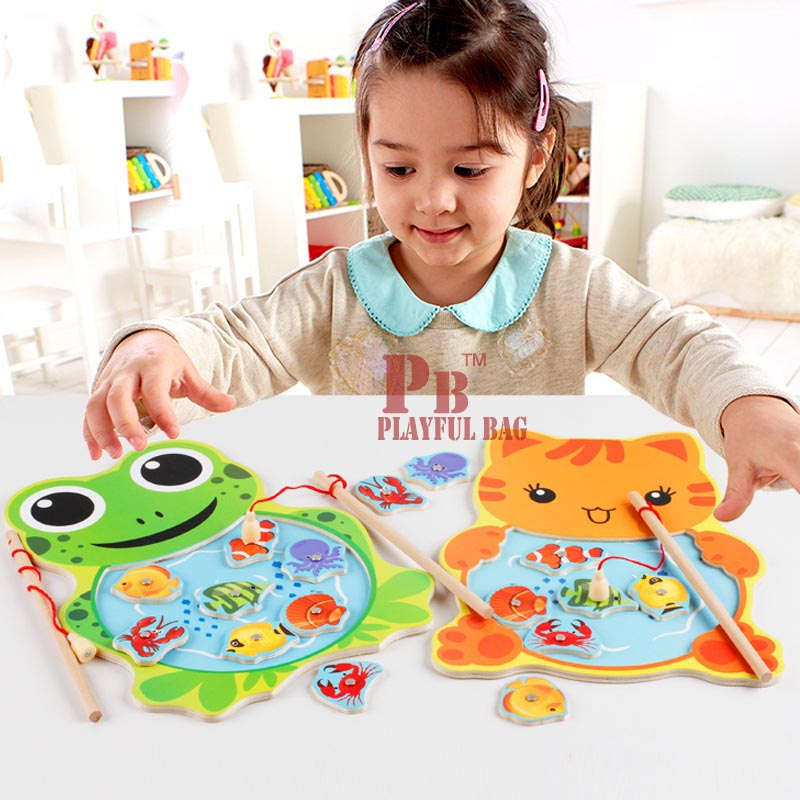Frog cat fishing QZF01 children fishing toys magnetic puzzle fishing pool rod baby 3 years old parent-child interactive game