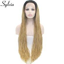 Sylvia блондинка ломбер микро плетение синтетические кружева перед парики с темный корень естественный вид плетеный ящик косы жаропрочных волокна