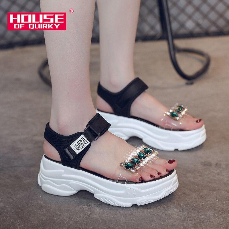 Summer Female Sport Sandals Fashion Rhinestone Open Toe Platform Shoes Ladies Beach Shoes Women Wedges Casual Shoes 2019 New