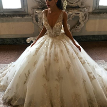 Ball Gown Wedding Dresses 2019 Lace Appliques Puffy Bridal Vintage Vestidos de Noiva Gold Dress