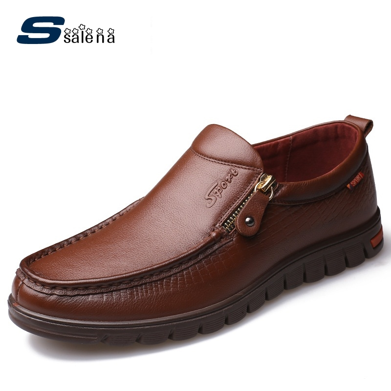 SSALENA Men Shoes Dress Breathable New Fashion Men Leather Shoes Spring Autumn Male Business Shoes AA50151