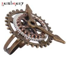 Faitheasy Steampunk Vintage Jewelry Punk Retro Ring Gears Charm Adjustable Vintage Rings For Men Women Unique Accessories Gifts