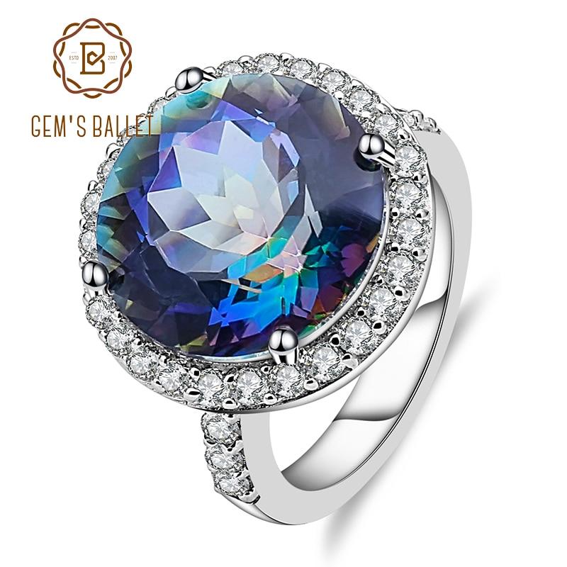 Gem s Ballet 925 Sterling Silver Cocktail Rings 13 00Ct Natural Blueish Mystic Quartz Gemstone Ring