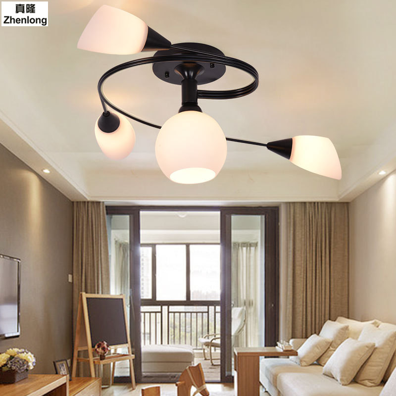 Ceiling Lights Vintage Lamps for Living Room Glass Villa Lighting Ceiling Light Wrought Iron Luminaria Home Lighting Fixtures
