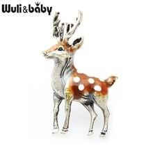 Wuli&Baby Vintage  Enamel Elk Deer Brooch For Women Fashion Jewelry Accessory Gift