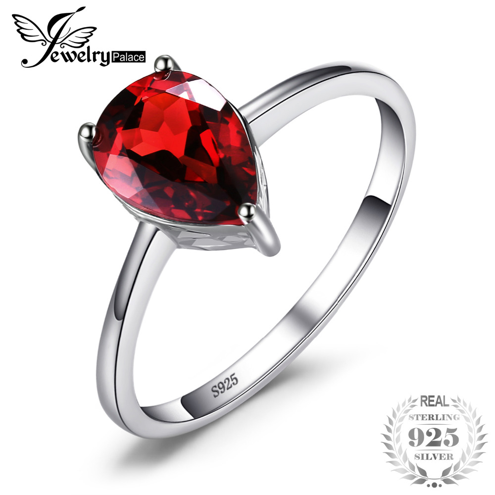 JewelryPalace Pear 1.4ct Natural Red Garnet Birthstone Solitaire Ring 925 Sterling Silver Classic Fashion Jewelry For Women RingJewelryPalace Pear 1.4ct Natural Red Garnet Birthstone Solitaire Ring 925 Sterling Silver Classic Fashion Jewelry For Women Ring