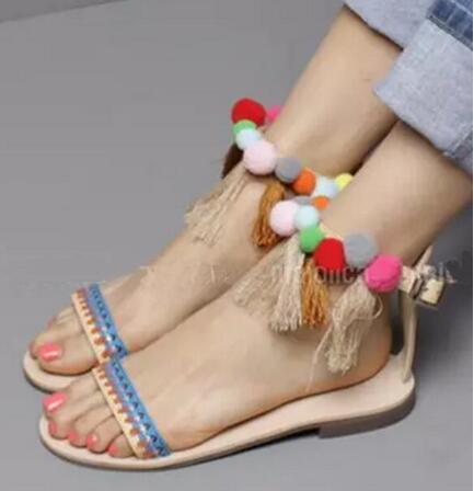 ФОТО Bohemian Style Women Fashion Ankle Strap Tassels Design Flat Sandals Hairball Fringes Beach Sandals Casual Shoes