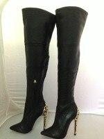 Цветок на металлическом каблуке женские облегающие высокие сапоги на шпильке пикантные Ботфорты с острым носком длинные сапоги на высоком