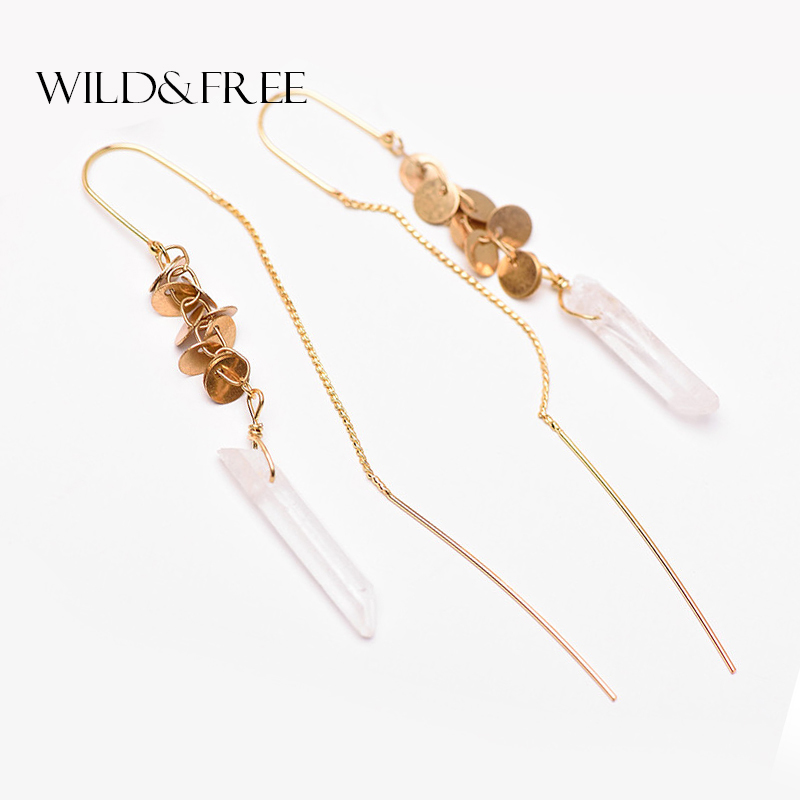 WILD & FREE Vintage Natural Stone Drop Earrings Retro Guld Long Ear Line Leaves Dangle Earrings Ljuskrona Smycken För Kvinnor