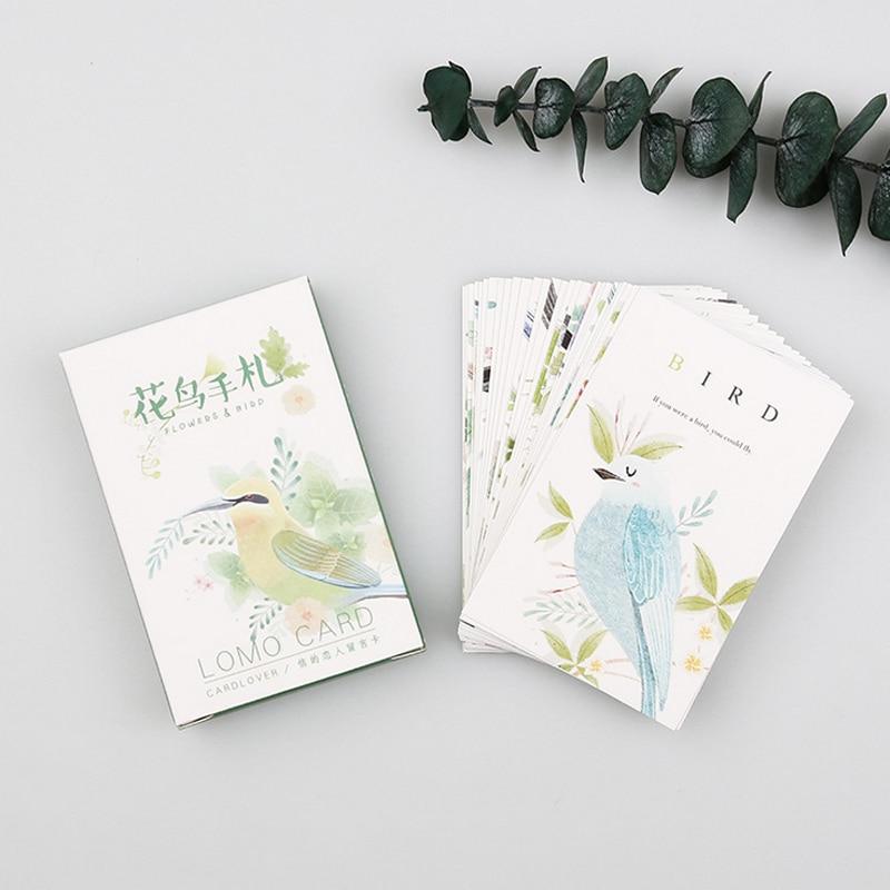 28 pcs/set card lover Bird and Flower mini card greeting card lomo message memo card kids gift postcard kawaii stationery