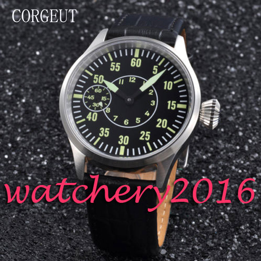 Casual Corgeut 43mm sapphire glass Black Dial Luminous Hand Winding 6497 movement Men's Watch 44mm black sterile dial green marks relojes 6497 mens mechanical hand winding watch luminous armbanduhr cm164bk