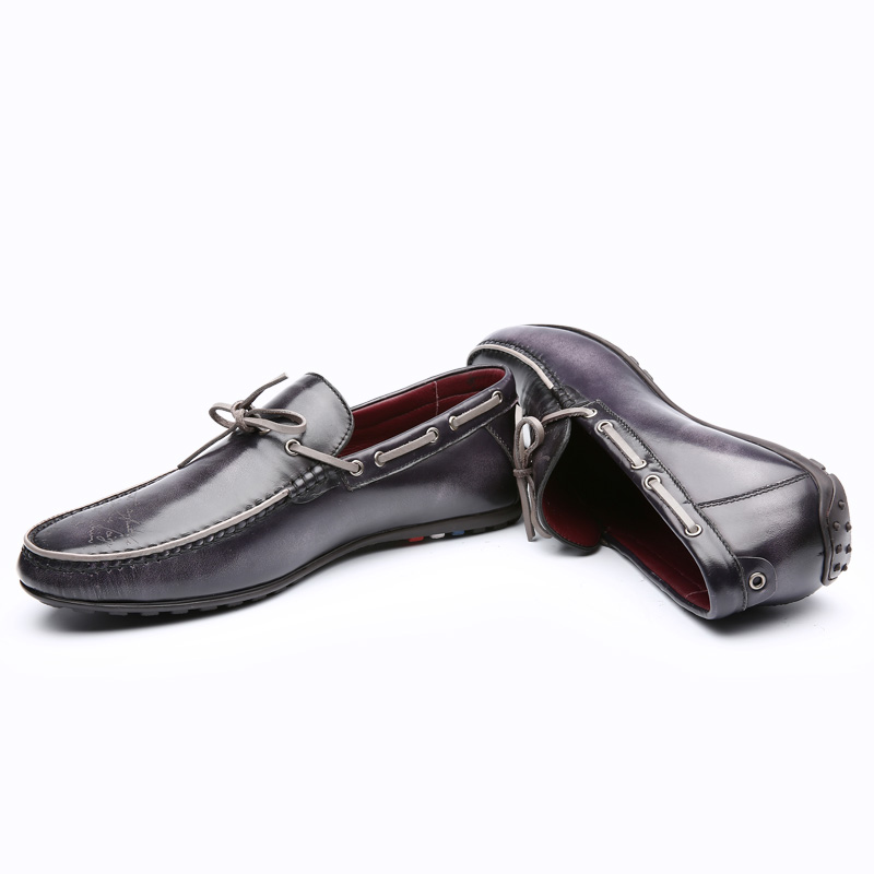 TERSE_Blue/ blue grey colors leather casual shoes men handmade genuine leather loafers goodyear welted factory to customer