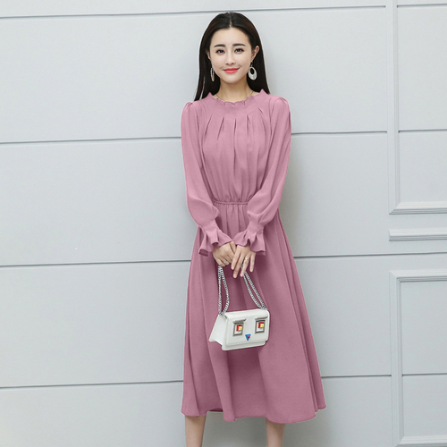 2018 New Spring Summer Fashion Long Women Dress Pink Sleeved Waist And Thin Snow Spinning Lantern Sleeve O neck Office Lady