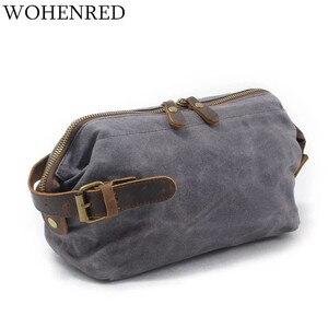 Оптовая продажа, Мужская маленькая сумка, винтажная кожаная Холщовая Сумка для запястья, кошельки для переноски, дорожная сумка для хранени...