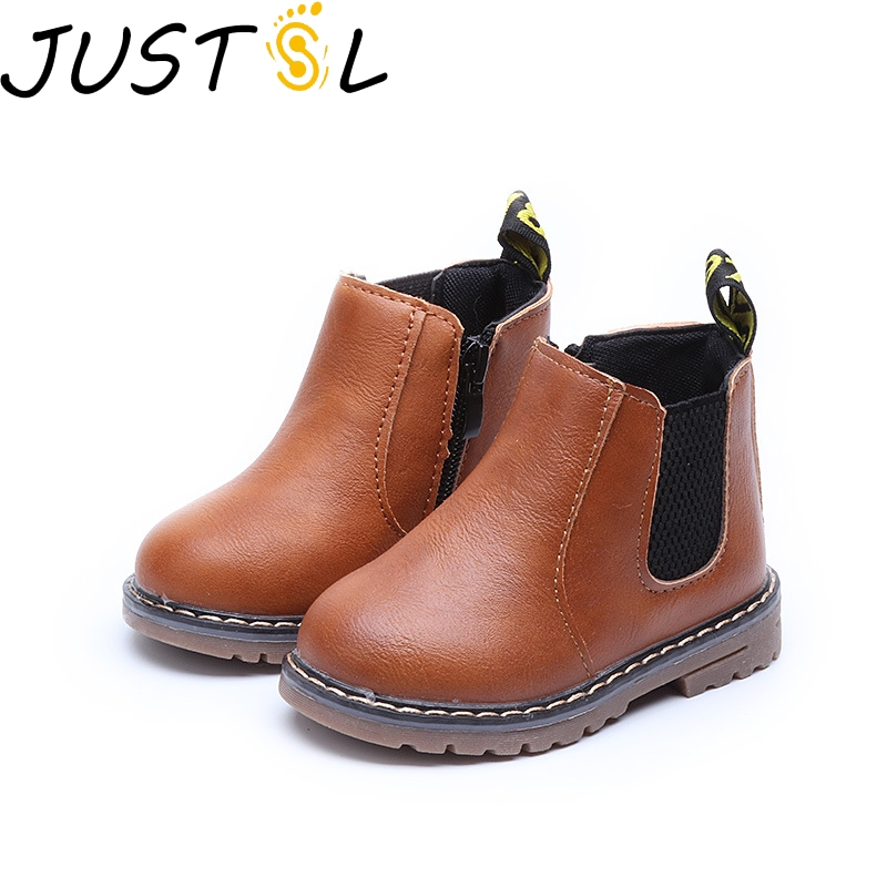 JUSTSL Spring Winter Boys Girls Sneakers Child Boys Girls Martin Boots Handmade Leather Boots Toddler Kids Shoes