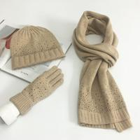 European Fashion Knitted Scarf And Hat Set Winter Warm Wool Gloves Hats Scarves Suit Crochet Cap