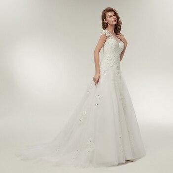 Fansmile Tulle Mariage Vestidos de Novia Embroidery Lace Mermaid Wedding Dress 2019 Bridal Gowns Plus Size Customized FSM-138M