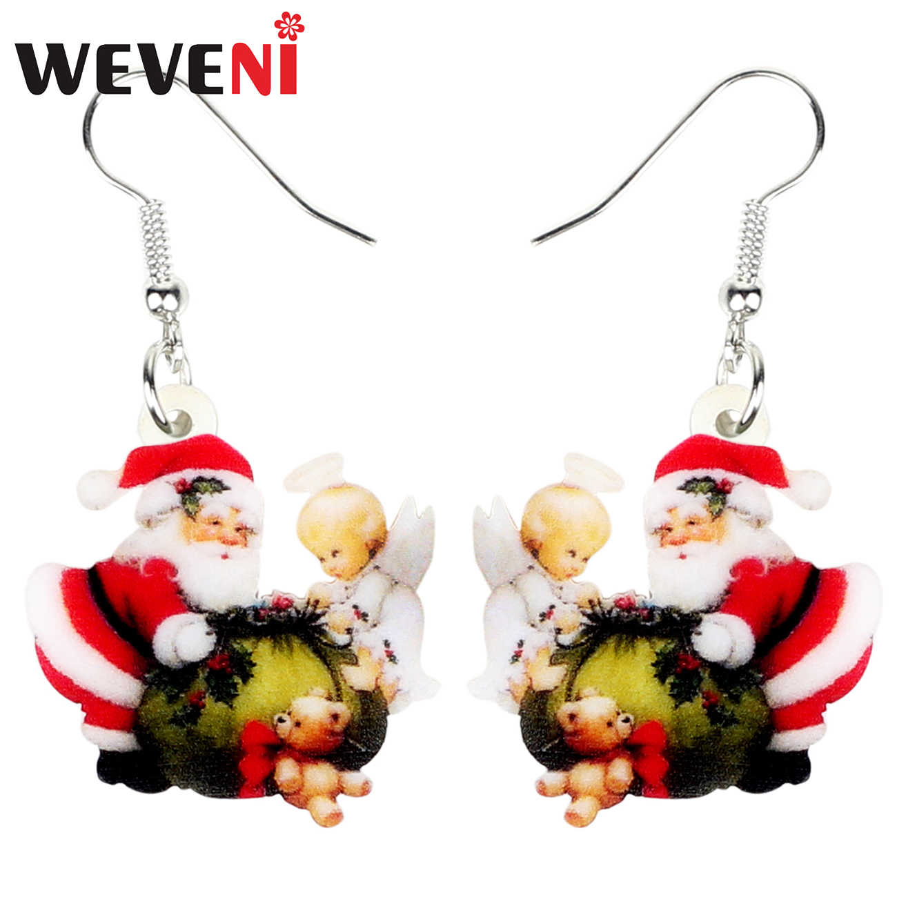 WEVENI Acrylic Christmas Santa Claus Angel Gift Bag Earrings Drop Dangle Decoration Jewelry For Women Girls Charms Wholesale New