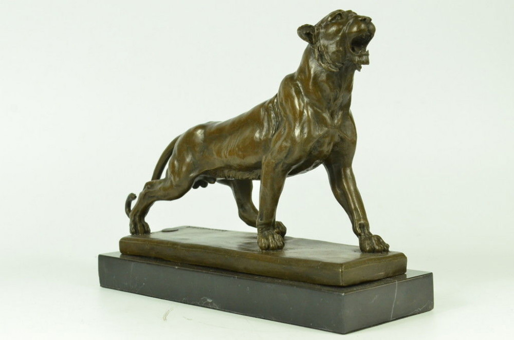 Jaguar Panther Leopard Cougar Big Cat Collector Artwork Bronze Statue Art Deco