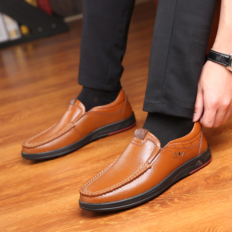 Plus Size 38-48 2019 New Genuine Leather Men's Shoes Soft Leather Anti-slip Shoes Driving Leather Men's Spring Shoes Male