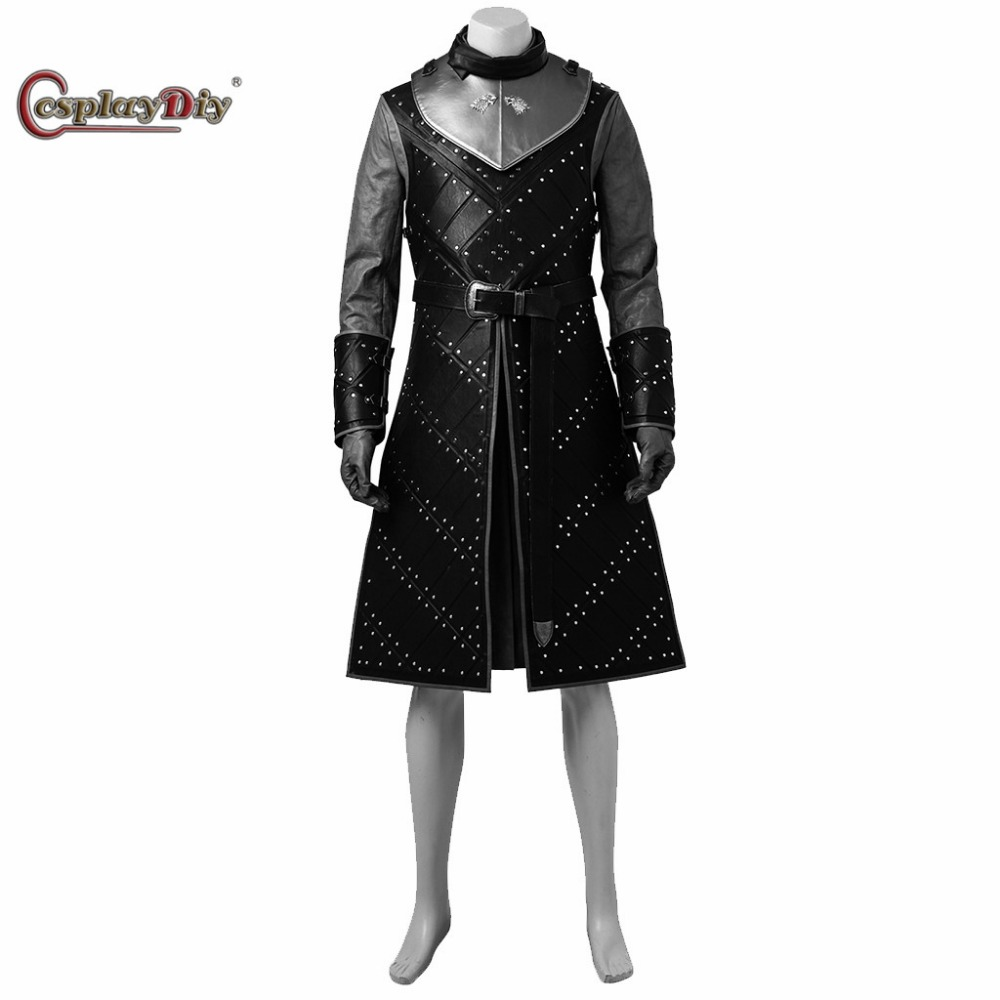 Cosplaydiy Game of Thrones Season 7 Jon Snow Cosplay Costume Knight Role Costumes Adult Men Halloween Outfit Custom Made J5