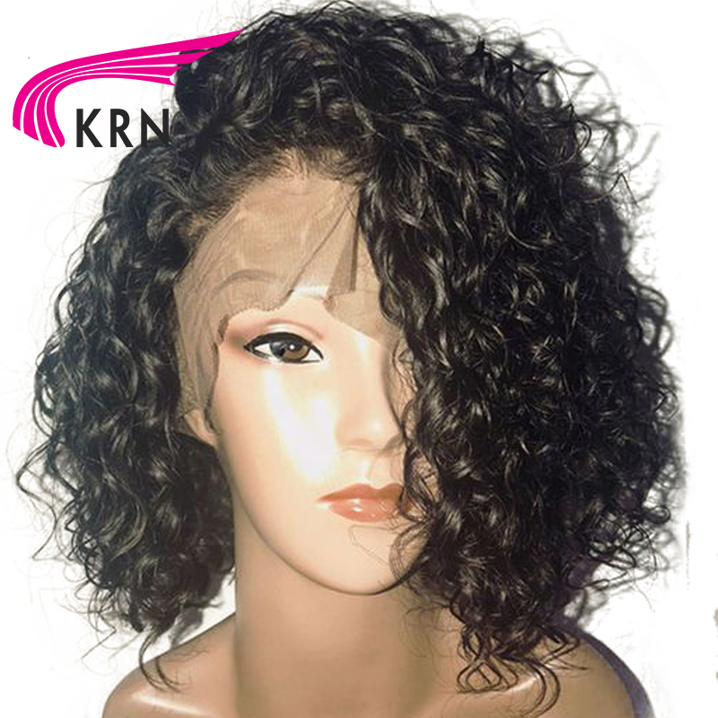 Curly 13X6 Lace Front Wigs With Baby Hair 130 Density Remy Hair Bleached Knots Pre Plucked Brazilian Human Hair Wigs KRN