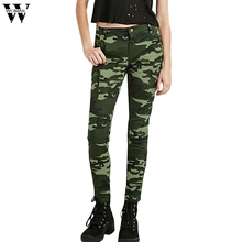 Womail mujeres S-xxxxxl flacos elegantes del verde del ejército de CAMO  Vaqueros para las mujeres Femme camuflaje cropped lápiz . 0c9ce4e30203